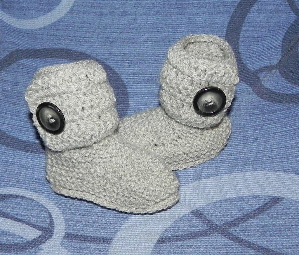 Stivaletti bebè stile Hugg grigio lana