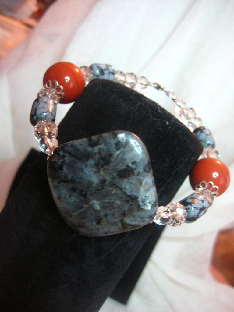 bracciale armonico labradorite diaspro rosso ossidiana fiocco neve cristallo rocca arg925