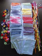 Stock 50 sacchetti rifinitura uncinetto bomboniere segnaposto portaconfetti da ricamare punto croce