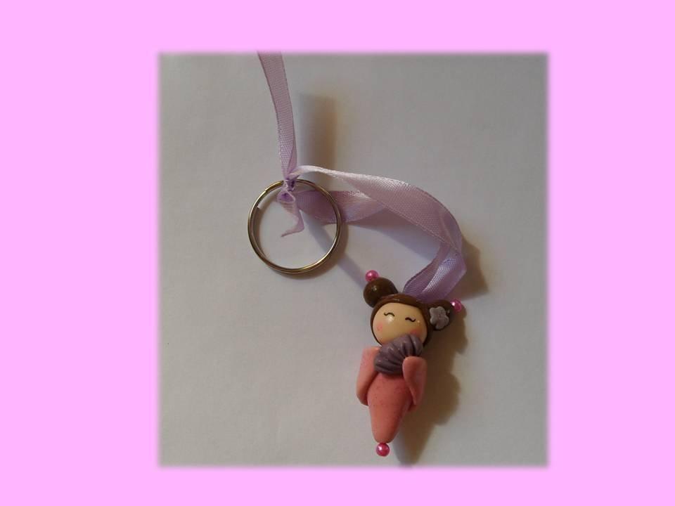 Portachiavi kokeshi doll pink-violet (ventaglio)