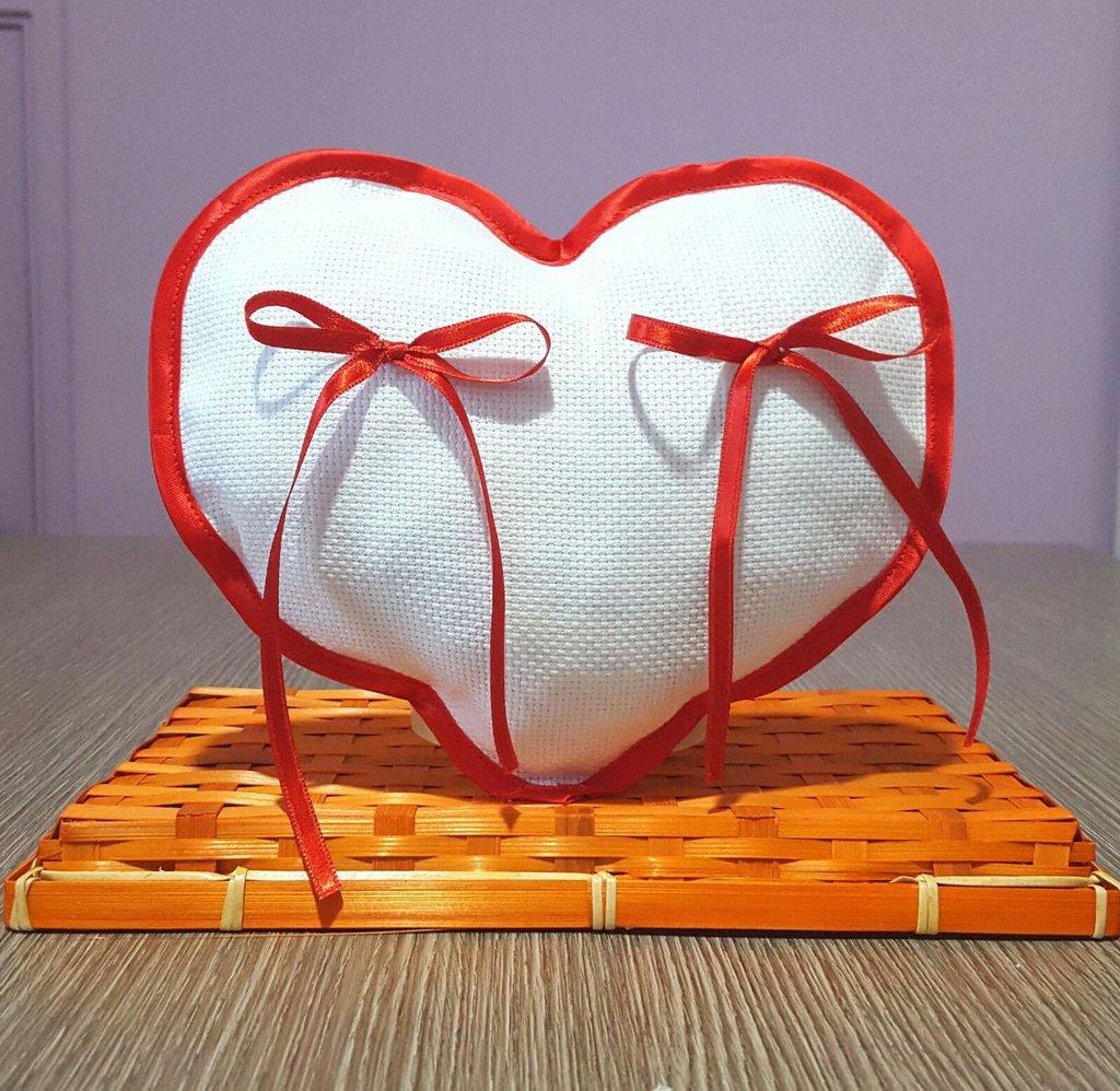 Cuscino fedi cuscinetto portafedi cuore aida da ricamare SCEGLI IL COLORE