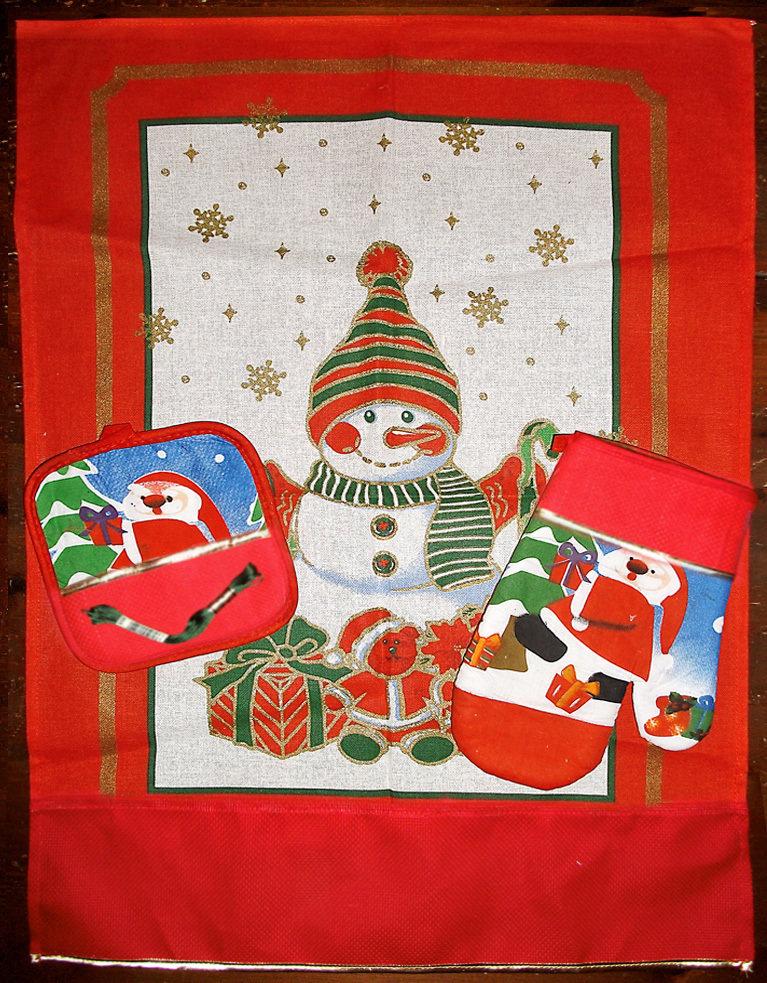 Canovaccio strofinaccio presina guanto asciughino Natale da ricamare aida rosso