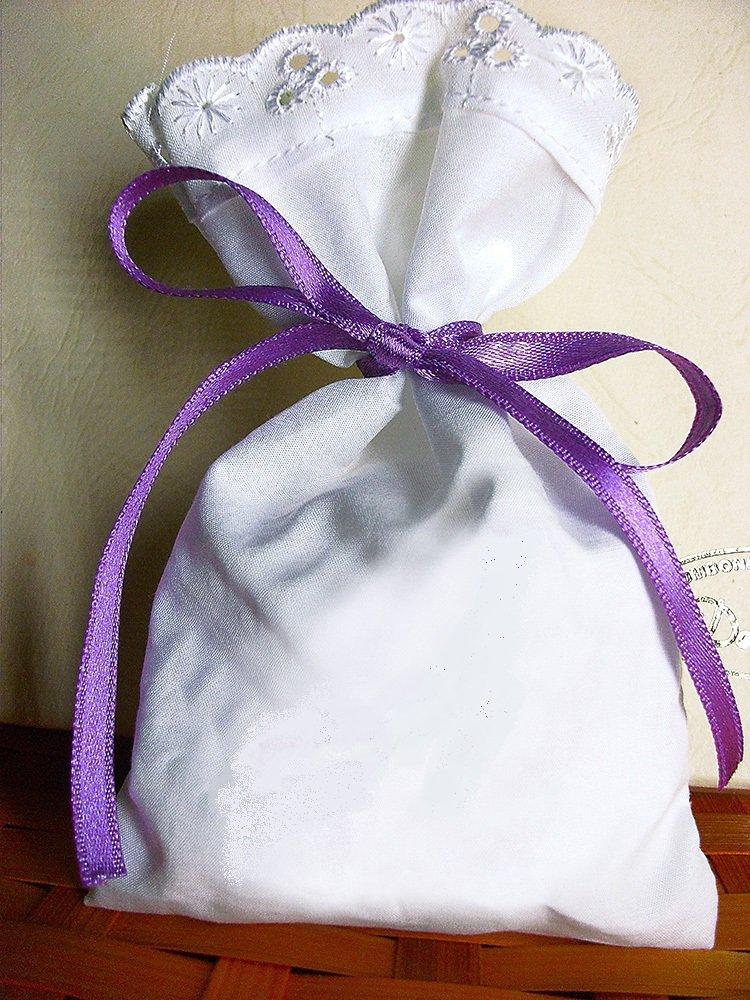 Pittura su stoffa: Stock 25 sacchetti cotone e pizzo sangallo bomboniere segnaposto portaconfetti