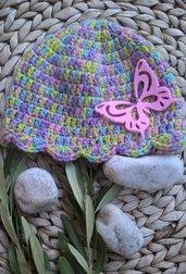 Cappellino neonata farfalla uncinetto