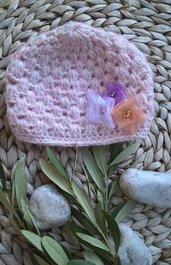 Cappellino neonata lana uncinetto