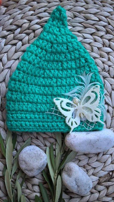 Cappellno neonato farfalla uncinetto