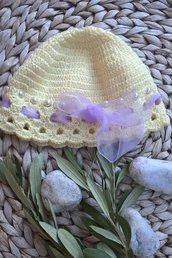 Cappellino neonato cotone uncinetto