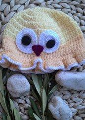 Cappellino piccolo gufo neonato uncinetto