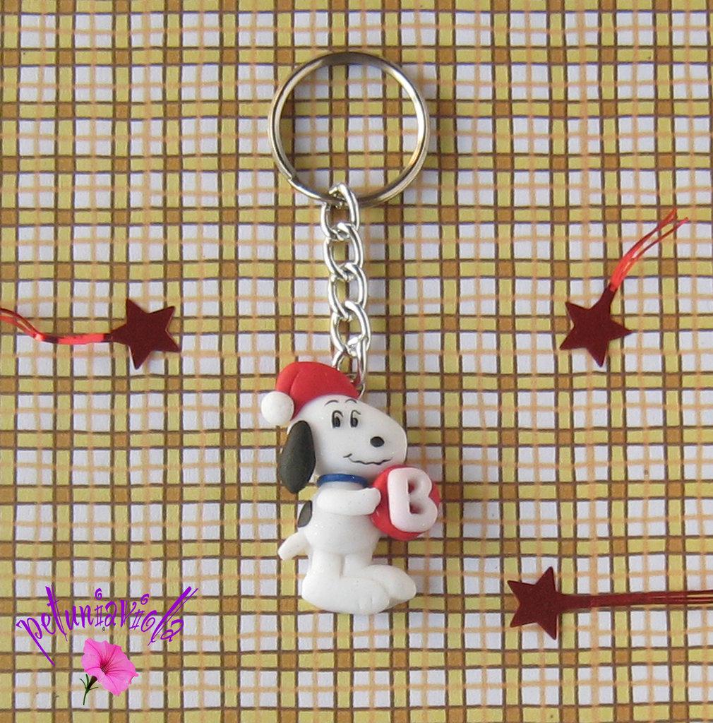 Snoopy portachiavi- Iniziale personalizzabile-Snoopy fimo-Portachiavi Snoopy-Portachiavi con iniziale-Portachiavi personalizzabile