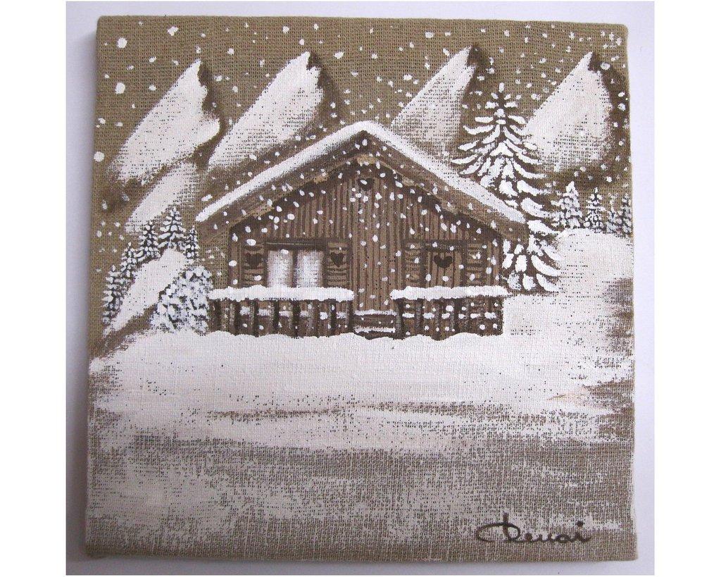 Baita natalizia dipinta su tela di juta