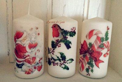 Candele natalizie decorate con trasferimento di immagine