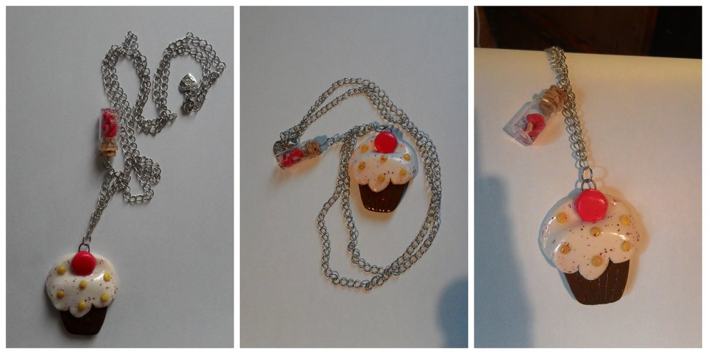 Collana con pendente cupcake in fimo