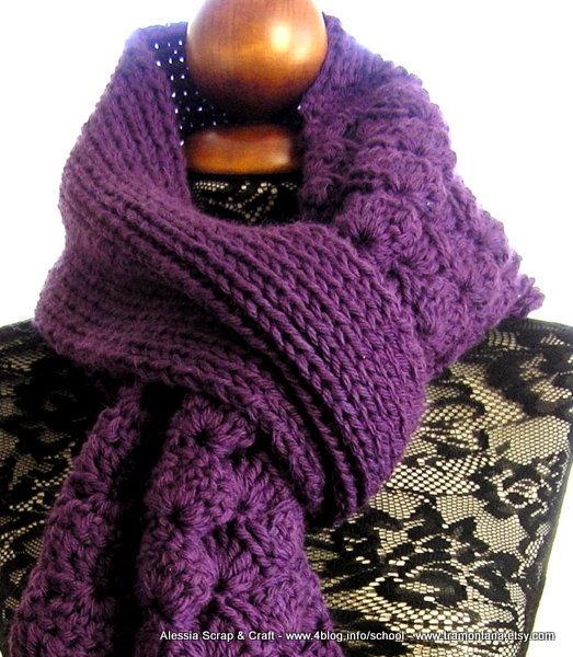 Pattern - Schema  per Viola - grande sciarpa uncinetto crochet + maglia knit senza cuciture (file PDF)