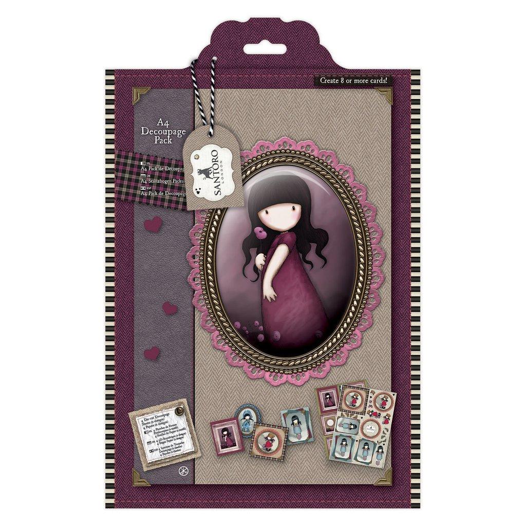 "A4 Decoupage Pack - Gorjuss Tweed ""Pink Poppy"""