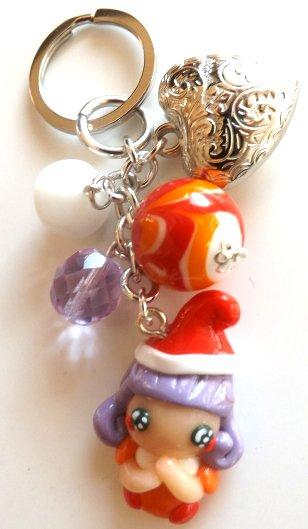 Portachiavi con Memole in fimo,perline,ciondolo cuore idea regalo Natale per lei