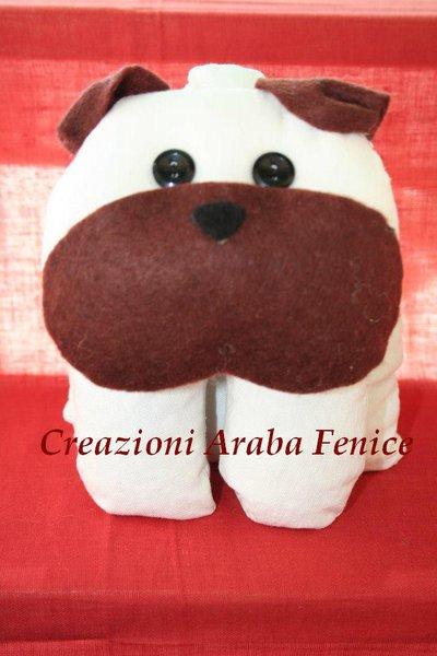 Fermaporta Cane Bulldog in tessuto cucito a mano