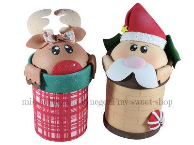 Barattoli decorati per Natale - Babbo e renna