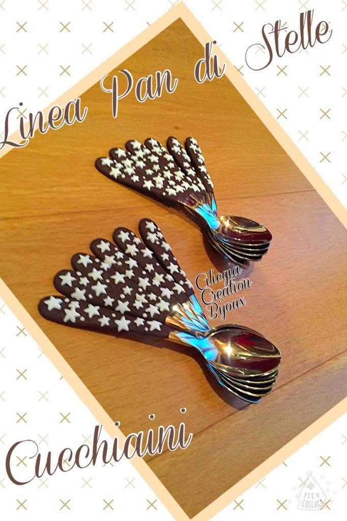 6 Cucchiaini decorati in fimo Pan di stelle
