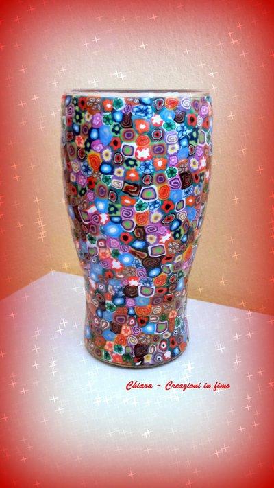 Novità! Vaso in vetro con decorazione in fimo a murrine colorate Idee regalo matrimonio compleanno bomboniere