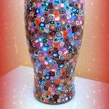 Novità! Vaso in vetro con decorazione in fimo a murrine colorate Idee regalo matrimonio compleanno