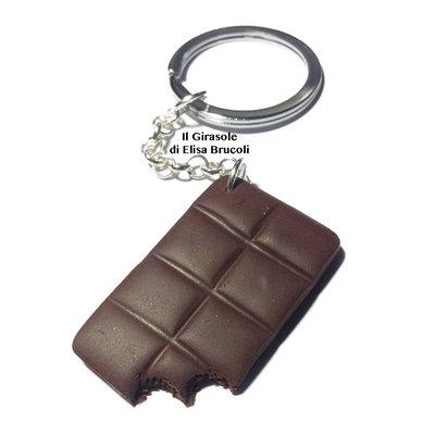 Portachiavi tavoletta di cioccolato in pasta polimerica fimo