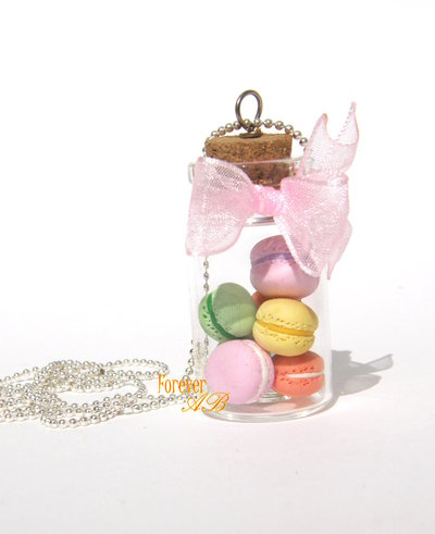 Collana Boccettina con macaron fimo idea regalo  donna ragazza