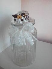 Biscottiera in vetro decorata in fimo