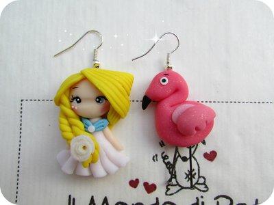 Collana Doll e Fenicottero Rosa in Fimo