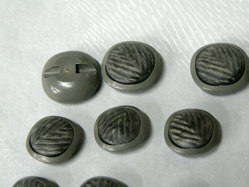 lotto  n 7 Bottoni tigre, mini, quadrato, grigio