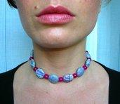 Collana in charoite e rubino con chiusura in argento fatta a mano - Charoite and ruby necklace with silver closure handmade
