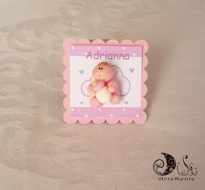 Battesimo Card Art segnaposto personalizzabili con miniatura bebè