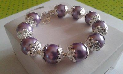 Bracciale donna di perle viola chiaro e coppette