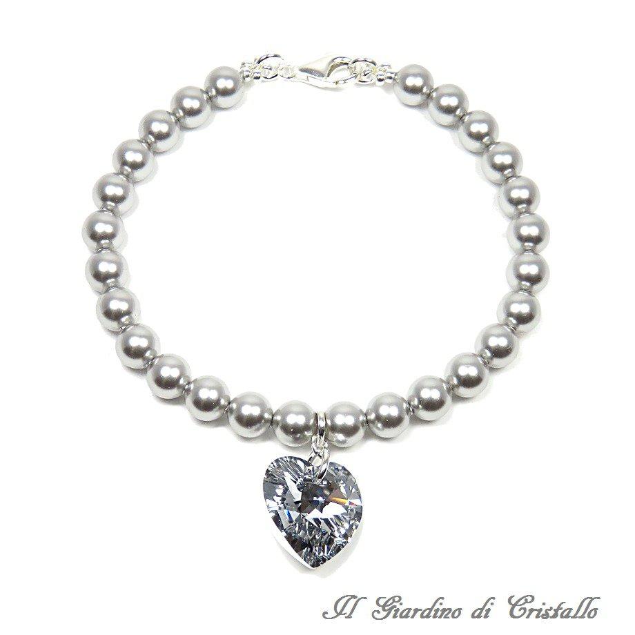 Bracciale perle e cuore cristallo Swarovski grigio chiaro argento 925 fatto a mano - Primula