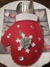 Segnaposto portaposate porta posate guanto Natale 2015 Christmas pranzo cenone