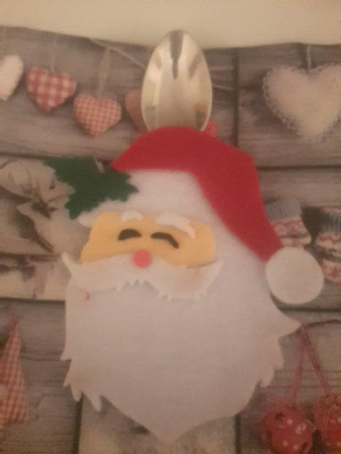 Segnaposto portaposate porta posate cucchiaino dolce babbo Natale 2015 Christmas pranzo cenone