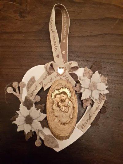 Cuore ghirlanda decorativo con presepe idea regalo Natale 2015 christmas