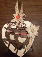 Cuore ghirlanda decorativo con renne idea regalo Natale 2015 christmas
