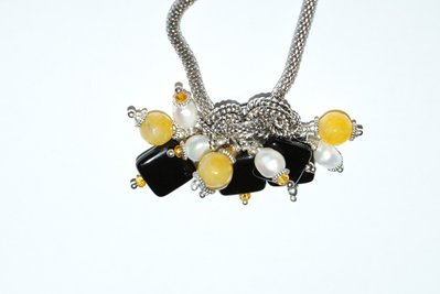 Collana catena snake con pendente agata nera giada gialla perle di fiume