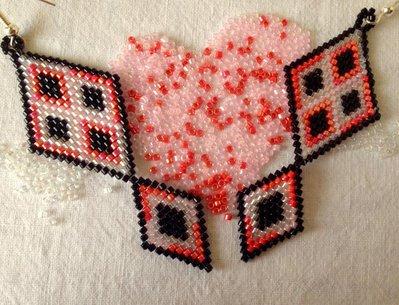 ~ Red&Pink Diamond Earrings ~ Beaded Earrings / Orecchini a rombo Rosso&Rosa con perline Miyuki