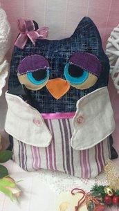 Gufo in stoffa con tasca porta oggetti