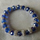 Bracciale elastico con cristalli blu e strass