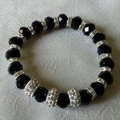 Bracciale elastico con cristalli neri e strass