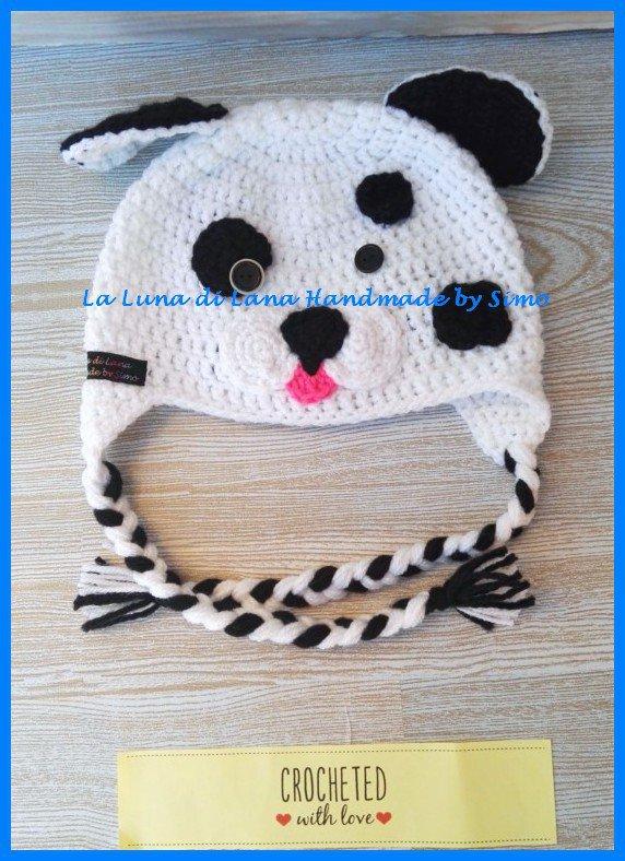 Cappellino uncinetto per bimbo o bimba a forma di Dalmata