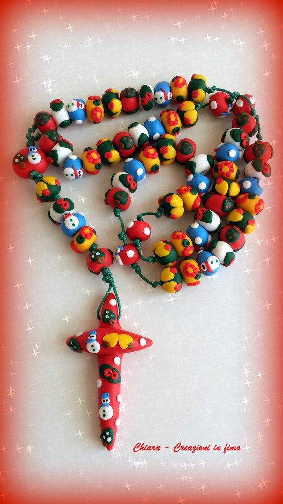 Super Rosario in fimo fatto a mano con motivi natalizi in rilievo  SJ41