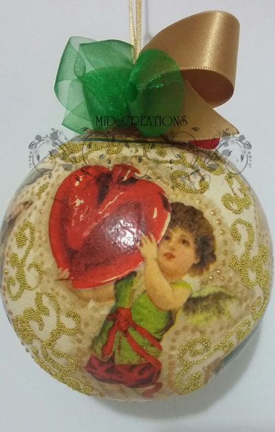 Palla di Natale in oro VINTAGE Angeli