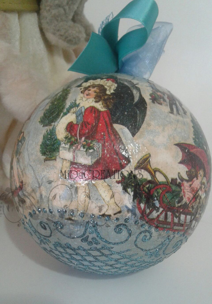 Sfera di Natale VINTAGE-Giochi con la neve.