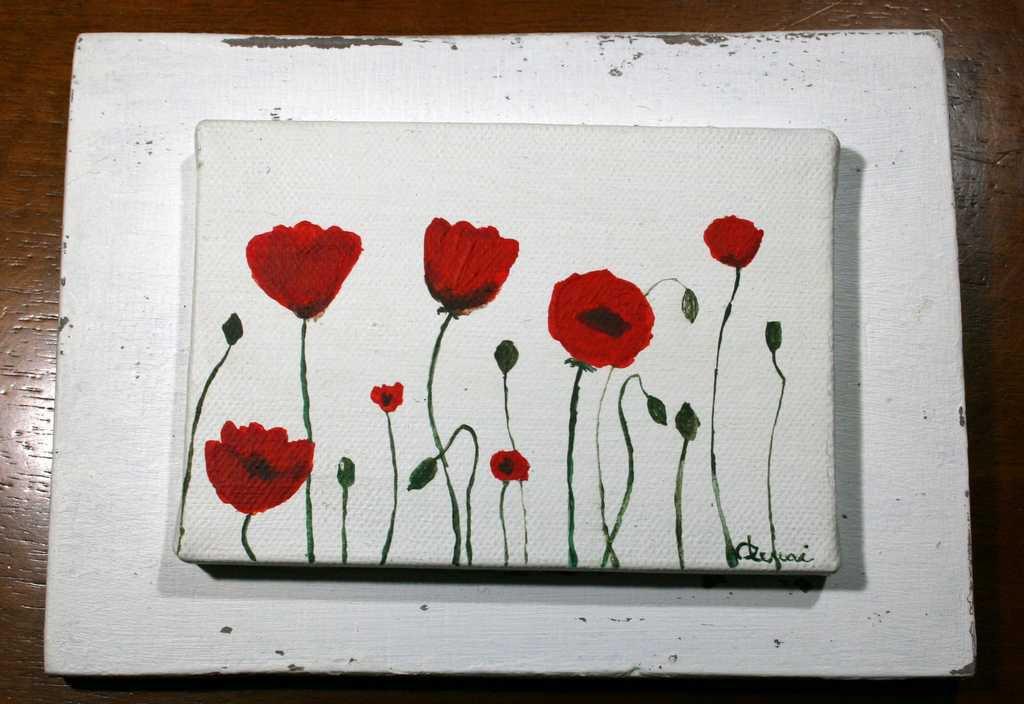 Tris quadretti papaveri,iris, ginestra dipinti a mano 100%made in Italy. ATTENZIONE!!!ARTICOLO RISERVATO PER TITTI.