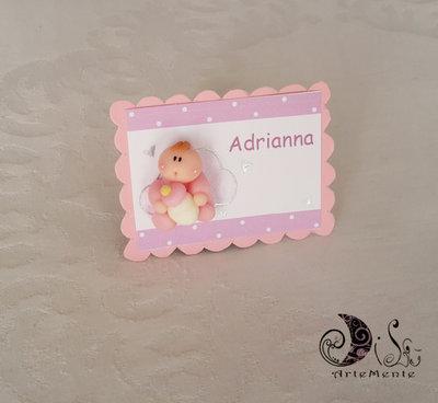 Battesimo Card Art Segnaposto rettangolare con miniatura bebè personalizzabili