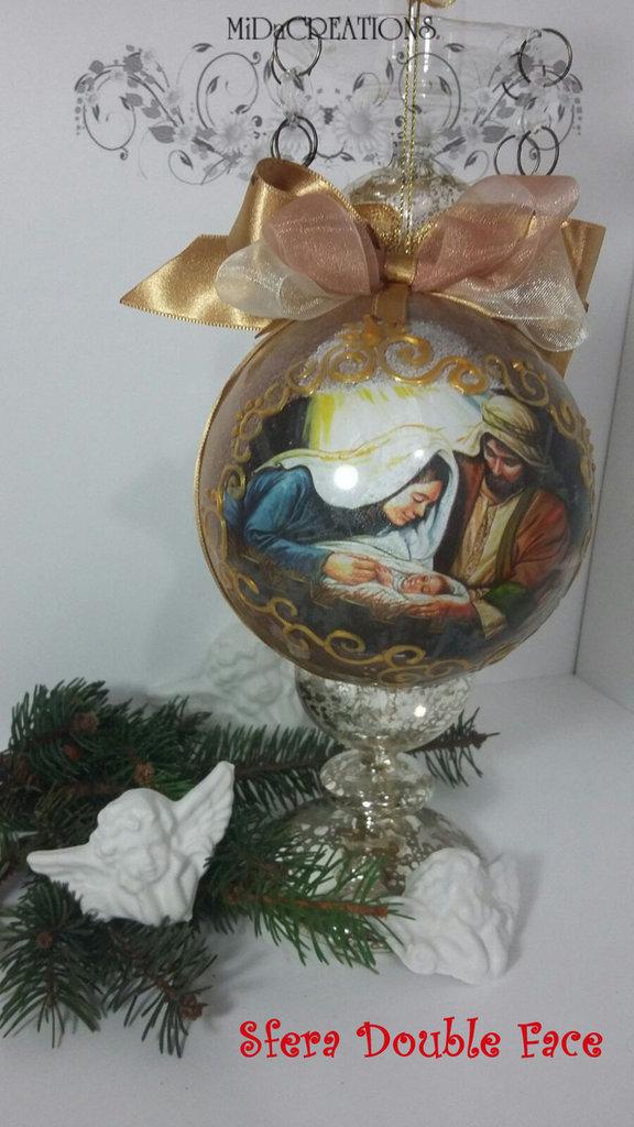 Sfera di Natale(Double face) -NATIVITÀ' decorata a mano