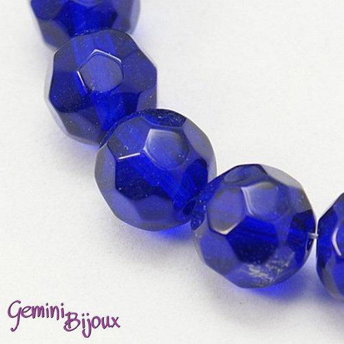 Lotto 10 perle tonde in vetro sfaccettate 10 mm. blu scuro